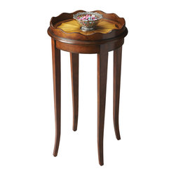 Butler Specialty - Butler Accent Table - Four tapered and slightly bending legs support a round tabletop featuring a combination of cherry, maple and walnut veneers to create a riveting pie pattern with a scalloped border. An elegant addition to any room.