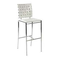 Euro Style - Euro Style Carina Woven Leather Bar Stool - White - Set of 2 - EUS985 - Shop for Stools from Hayneedle.com! Please note: This item is not intended for commercial use. Warranty applies to residential use only.