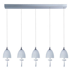 ET2 - ET2 E24355-11 5 Light Adjustable Height Pendant Chute Collection - Bulb - ET2 E24355-11 Chute 5 Light Adjustable Height PendantSuspended in the air by adjustable cables, this elegant 5 light pendant makes the perfect addition to any room. Its beautiful blown glass dome is coupled with matching glass ornaments and beveled crystal finials for a versatile and elegant package.Chute collection's blown glass domes, available in Matte White or Mirror Chrome, suspend in the air by adjustable cables. Highlighted by the light are matching glass ornaments and beveled crystal finials. Unique canopies and hardware of Polished Chrome add to the eclectic nature of this design.ET2 E24355-11 Features:
