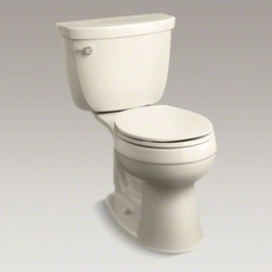 KOHLER - KOHLER Cimarron(R) Comfort Height(R) two-piece round-front 1.28 gpf toilet with - Featuring the classic, versatile look of the Cimarron collection, this two-piece toilet combines water-saving flush performance with graceful curves. A 1.28-gallon flush provides up to 16,500 gallons of water savings per year, compared to a 3.5-gallon toi