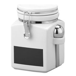 "Medium Clamp Canister with Chalkboard - Modern classics in white stoneware feature clean lines, airtight clamp closures to ensure freshness, convenient nested scoops, and now a ""chalkboard"" strip to label the contents."