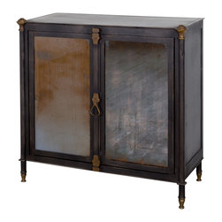 C.G. Sparks - Broc Cabinet - Daring and dignified, with an approach to storage that's equally stylish as it is secure. The Broc Cabinet features two shelves behind stately antiqued mirrored doors that latch secure with magnetized, bronze-finished hardware. Due to the hand-built construction process of this sturdy steel cabinet, slight variations that enhance the piece's character should be expected.