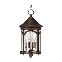 "Hinkley - Traditional Lucerne Collection 24 1/2"" High Outdoor Hanging Light - Inspired by street lighting in the world-famous city of Lucerne this light fixture boasts clean lines and an elegant profile. It comes in a copper bronze finish with clear glass. Ball feet and a drapery border adds to the classic decorative look. Rated for outdoor use may also be used indoors in an entry way or foyer. Takes four 40 watt candelabra bulbs (not included). 24 1/2"" high. 13"" in diameter.  Copper bronze finish.  Takes four 40 watt candelabra bulbs (not included).  Damp location rated only.  24 1/2"" high.   13"" in diameter."