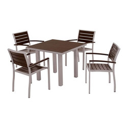 Polywood - Euro 5-Piece Square Dining Set in Mahogany - The perfect combination of cool sophistication and welcoming warmth is showcased in the Euro 5-Piece Dining Set. This comfortable set is durable enough to stand the test of time and weather because its built with solid recycled lumber that provides the look of painted wood without the maintenance. Polywood lumber requires no painting, staining, waterproofing, or similar maintenance. Polywood lumber does not splinter, crack, chip, peel or rot and it is resistant to corrosive substances, insects, fungi, salt spray and other environmental stresses and also resists stains associated with wine and condiments.