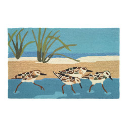 Homefires - Oceanside Sandpipers - Machine washable, wool look-alike, accent rug