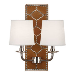 Robbert Abbey - WILLIAMSBURG Dunmore Lightfoot Ochre Leather Double Sconce - Deep Patina Bronze - Available in Polished Nickel or Deep Patina Bronze Finish.  Backplate Upholstered in English Ochre Leather with Nailhead Detail.  Aged Brass Accents.  2-60W Max.  Bulb Type: B. Candelabra Base.  Direct Wire Only.  Oyster Linen Shades.  Back Plate: 5 3/4��_ w x 16 1/2��_ d x 1 1/2��_ h  Shade: 5��_ w x 6��_ d x 6��_ h