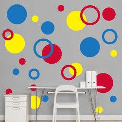 Fathead - Fathead Vinyl Wall Graphic - Red, Yellow, Blue Polka Dots