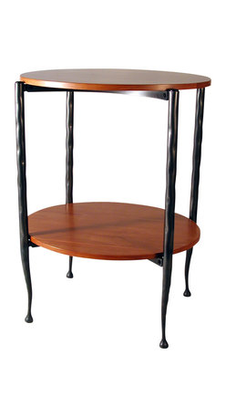 Form & Reform - Vera Oval Stand - This stylish piece couples cherry-stained hardwood shelves with sleek forged steel legs. Its simply elegant design fits seamlessly with your decor — use it as a stand to display treasures or as an accent table beside your favorite chair or sofa.