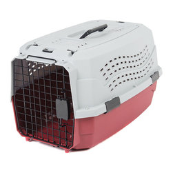 """Favorite - Favorite 22.5-Inch Two-Door Portable Carrier Red - Portable pet carrier for car travel or visit to the vet for small dogs, cats, rabbits, hedgehogs, chinchillas, piggies, etc. Steel and plastic combine for strength, safety and visibility; high-impact, easy to clean plastic for years of use; Easy assembling indoor and outdoor dog kennel/cat crate of roomy size; Ventilation holes on 4 sides with quick-latching front door; Handle on the top for easy carrying; Hasps on the top could be combined with belt for carrying on the shoulder; 2 Door construction allows for easy access. Top entry size: 15"""" L x 8.5"""" W; Side entry size: 10"""" W x 11"""" H. Caution: Intended to be used for pet transportation. Not intended to be used as a permanent habitat. Always supervise your pet when using this product. Inspect product regularly and discard if any part becomes damaged or loose. Color: White lid with red base. Size: 22.5"""" L x 15.5"""" W x 13.5"""" H."""