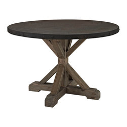 LexMod - Stitch Wood Top Dining Table in Brown - Industrial modern is about revisualizing scenes from the past into the new light of the present. While these designs transform functionality into form, the artistry resides in the result. Although it may not seem so at first, Stitch is a sewing machine table. But instead of stitching fabric, conversations between friends are woven together in this dining table rendition of the iconic textile workstation. Topped with fiberboard surrounded by a metal rim and solid pine base, combine diverse personalities and events into one complete tapestry of experience.
