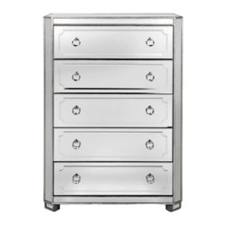 Z Gallerie - Simplicity Mirrored 5 Drawer Tall Chest - Our exclusive Simplicity Collection demonstrates a striking use of style and restraint. A redesign of the original Simplicity collection, these new models include a recessed foot, deeper drawers, additional silver leaf trim, and will blend beautifully with the original designs. The clean lines of the case goods are outlined in a hand applied silver leaf while drawer and door fronts are layered with beautiful beveled mirrored detailing accented with polished nickel hardware.