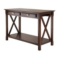 "Winsome - Winsome Xola Console Table with 2 Drawers in Cappuccino Finish - Winsome - Console Tables - 40544 - The Xola line is named for the contemporary ""X"" design for occasional tables."
