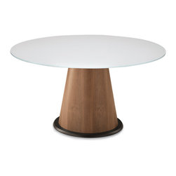 Domitalia - Palio-152 Dining Table, Walnut/White Glass - Round Table