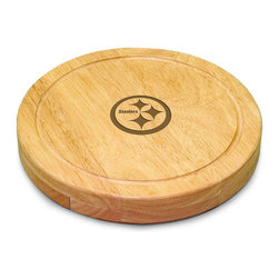 """Picnic Time - Pittsburgh Steelers Circo Cheese Board in Natural Wood - The Circo by Picnic Time is so compact and convenient, you'll wonder how you ever got by without it! This 10.2"""" (diameter) x 1.6"""" circular chopping board is made of eco-friendly rubberwood, a hardwood known for its rich grain and durability. The board swivels open to reveal four stainless steel cheese tools with rubberwood handles. The tools include: 1 cheese cleaver (for crumbly cheeses), 1 cheese plane (for semi-hard to hard cheese slices), 1 fork-tipped cheese knife, and 1 hard cheese knife/spreader. The board has over 82 square inches of cutting surface and features recessed moat along the board's edge to catch cheese brine or juice from cut fruit. The Circo makes a thoughtful gift for any cheese connoisseur!; Decoration: Engraved; Includes: 1 cheese cleaver (for crumbly cheeses), 1 cheese plane (for semi-hard to hard cheese slices), 1 fork-tipped cheese knife, and 1 hard cheese knife/spreader"""