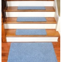 "Dean Flooring Company - Dean Premium Carpet Stair Treads 27"" x 9"" - Sky Blue PLUSH (Set of 13) + 2'x3' - Dean Premium Carpet Stair Treads 27"" x 9"" - Sky Blue PLUSH (Set of 13) + 2'x3' : Quality, Stylish Carpet Stair Treads by Dean Flooring Company. Extend the life of your high traffic hardwood stairs. Reduce slips/increase traction (treads must be properly secured to your stairs). Cut down on track-in dirt. Great for pets and pet owners (helps your dog easily navigate your slippery stairs. 100% Premium quality nylon. 35 ounce stain and spill resistant PLUSH carpeting. Dean signature rounded corners. Add a fresh new look to your staircase. Set includes 13 carpet stair treads PLUS one roll of double-sided carpet tape for easy, do-it-yourself installation and a matching 2' x 3' landing mat. Each tread is finished on the edges with color matching yarn. No bulky fastening strips. You may remove your treads for cleaning and re-attach them when you are done. Add a touch of warmth and style to your stairs today with new stair treads from Dean Flooring Company!"