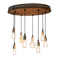 Wine Country Craftsman - Radiance - Resplendent - Wine Barrel Head Adjustable Chandelier - We take a retired wine barrel head and mount a wine barrel ring on the outside to define the piece. The flush-mount fixture has a metal cover on top containing all the wiring, and is easy to install with just one person.