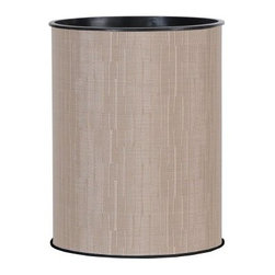 Lamont Home - Caprina Round Wastebasket Champagne - Made from high quality PVC/Polyester fabric, these traditional styles have been updated in a wide range of patterns to match any decor. A vinyl lid with metal grommet completes the look for the hamper. A very durable product that adds style to any laundry room.