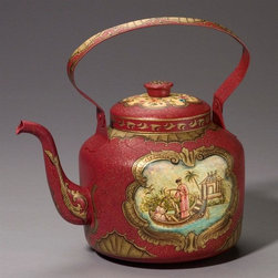 AA Importing - Metal Tea Kettle in Red Finish - Red painted metal with Gold painted trim and crackle finish. Hand-painted Oriental scene on front and back. Floral design insert on lid and base of handle. Fan-like trim on pot and handle and scrollwork on spout. Removable lid. Without handle: 11 in. L x 7.5 in. W x 9 in. H