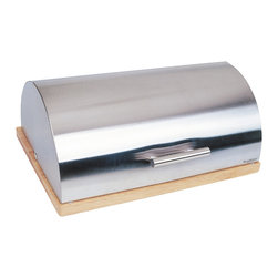 Berghoff - Berghoff Bread Bin - Stylish stainless steel bread bin with wood base.