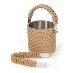Go Home - Roped Ice Bucket & Tongs -Set of 2 - Fantastic Roped Ice Bucket & Tongs -Set of 2 its double wall construction provides insulation and keeps your ice cool.This brass ice buckets provide high quality bar ware for your home.It has nickel plated finish and it is sold as a set of two.