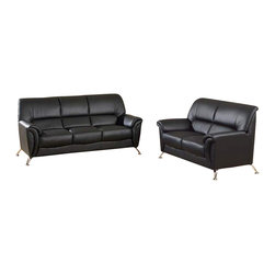 Global Furniture - 2 Pc Leather Match Living Room Set in Black - Includes sofa and loveseat. Coffee table and end table not included. Made of leather match. Sofa: 74 in. W x 34 in. D x 35 in. H (85 lbs.). Loveseat: 55 in. W x 34 in. D x 35 in. H (73 lbs.)