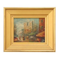 Flowers of Paris - Consigned Vintage Artwork - Beautiful vintage painting with fantastic texture and interesting composition. Signed illegibly, center left. Displayed in a substantial giltwood frame.