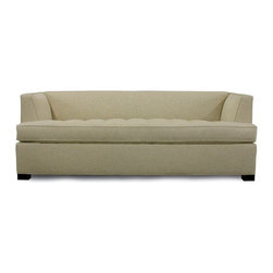 Jordan Sleeper - This sleeper has a super unique midcentury shape: a high seat, low back and wedge arms. The tufted seat is a fun design detail. Two sizes are available, and the frame and cushions are both ecofriendly.