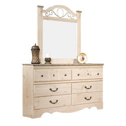 Standard Furniture - Standard Furniture Seville Dresser with Mirror in Old Fashioned Wood - Seville offers a warm blend of soft tones and granite color illustrate the European Country style of this collection. Wood products with simulated wood grain laminates. This group may contain plastic parts. Metal is used for the grills. Drawers offer roller side drawer guides allowing for easy operation. Drawer stops are included for safety. Bail pulls and knobs with simulated pewter color finish. Old fashioned wood color and simulated Jura granite. Surfaces clean easily with a soft cloth.