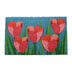 Entryways - Field of Tulips Non Slip Coconut Fiber Doormat - This beautifully designed doormat will enhance your entry way or patio. It's made from the highest quality all natural coconut fiber with a PVC non slip backing.