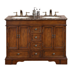 Silkroad Exclusive - 48 in. Ashley Double Sink Bathroom Vanity in Red Chestnut (Baltic Brown Granite - Choose Counter Top: Baltic Brown Granite Stone. Undermount Ivory Ceramic Sinks included. Travertine Stone Top or Baltic Brown Granite Stone Top included. Cabinet Finish: Red Chestnut. Hardware Finish: Antique Brass. Materials: Wood, CARB Ph2 Certified Plywood & MDF Panels, Stone, Ceramic. Distressed Finish. Pre-drilled for 3-hole, 8-inch widespread Faucet(s). Faucet(s) not included. Dimensions: 48 in. W x 22 in. D x 36 in. H (208 lbs.)It's the most compact double sink vanity ever! Great for any shared bathroom with tight space. Bring uniqueness and functionality with this elegant double sink vanity. Featuring its beautiful brown finish, flat panels and great storage design.Disclaimer: Measurements are rounded off. Each of our fine bathroom vanities is a one-of-a-kind masterpiece, detailed with a multi-step hand finishing process. With individual technique and interpretation, no two pieces are exactly the same (color may vary). Individual personality of each stone top is further expressed by anomalies such as veining and coloration, as the nature of stone. Actual color may vary due to individual computer monitor display settings.