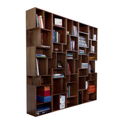 DuBois collection - MODcase1 - The staggered placement of vertical and horizontal spaces within the modular shelving unit creates a visual play, while providing placement for a vast range of objects. Walnut veneered plywood with dados and screws for flat pack option. Clear-coated with four coats of thinned polyurethane.