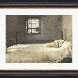 "Great Art Now - Master Bedroom, c.1965 by Andrew Wyeth Framed Art , Size 35.5 X 28.5 - Master Bedroom, c.1965 by Andrew Wyeth is a high quality piece of framed artwork. The finished size of this piece is 35.5"" X 28.5"". It has an Ebony and Gold Bastion frame, is single matted and finished with high quality Acrylic Plexiglass. Hand made in the USA. 100% Satisfaction Guaranteed."