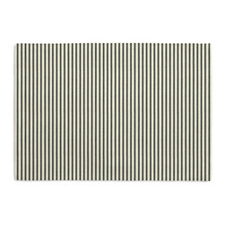 Black Ticking Stripe Custom Placemat Set - Is your table looking sad and lonely? Give it a boost with at set of Simple Placemats. Customizable in hundreds of fabrics, you're sure to find the perfect set for daily dining or that fancy shindig. We love it in this classic traditional cotton ticking stripe in black & white.
