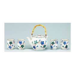 Old Dutch International - Cream Flower 5-Pc Porcelain Tea Set - 3.38 lbs. capacity. Made from porcelain. Cream with blue finish. No assembly required. 13 in. L x 8 in. W x 5.5 in. H (8 lbs.)