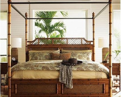 Tommy Bahama Island Estate West Indies Bed - Four-poster beds are great for island getaways. The bamboo detail on this one from Tommy Bahama is perfect.