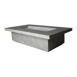 "Hart Concrete Design - Capped Plaza FirePit in Iron, Iron, 72"" - The Capped Plaza Firepit is handmade to order by Hart Concrete Design in the United States. Designed to burn on Natural gas but may be outfitted for propane. Each Firepit includes a Stainless Steel burner and Shutoff valves."