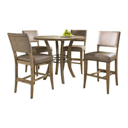 """Hillsdale Furniture - Hillsdale Charleston 5-Piece Round Counter Table Set with Parson Stools - Hillsdale's Charleston collection beautifully combines a rustic desert tan wood finish with a dark grey metal and offers a multitude of choices to create the perfect dining group for your home. Starting with the chairs, you have the choice of three lovely designs: The X-Back chair combines a rustic desert tan top accent with a transitional metal X in the center of the back and a brown faux leather seat. The parson's chair is traditional in design and combines the rustic desert tan finish with the brown faux leather seat. The ladder back chair features 3 rungs in the desert tan finish, enhanced by the dark grey metal and brown faux leather seat. Now that you have decided on your chair, let's look at the table options: The stunning rectangle table features a wood top that is generously scaled to easily accommodate 6. The simple round table features a 48"""" diameter wood top with flared metal legs. The round wood table is 48"""" in diameter and features a wonderful metal accent on the base."""