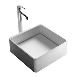 ADM - ADM Matte White Countertop Stone Resin Sink - You're down to the final details of your bathroom remodel and all you need is that perfect countertop sink. Look no further. This handsome, square sink is ideal for your contemporary bathroom.