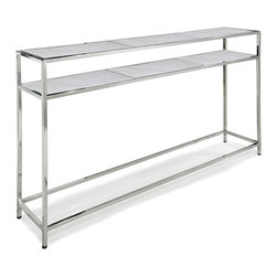 Kathy Kuo Home - Winfrey Modern Hollywood Regency White Marble Silver Console Table - A mixture of Modern and Hollywood Regency, this console table offers display areas, serving space and open storage shelves. Versatile and intriguing, the white shelves complement the silver, rectangular base, creating a clean, angular accent piece.
