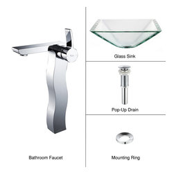 Kraus - Kraus C-GVS-901-19mm-14600CH Clear Aquamarine Glass Vessel Sink and Sonus Faucet - Add a touch of elegance to your bathroom with a glass sink combo from Kraus