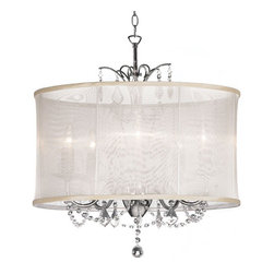 Dainolite - 5 Light Crystal Chandelier, Oyster Organza Shade - 5 Light Polished Chrome Maple Droplets Crystal Chandelier with Black Organza Shade