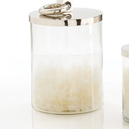 Brooke Medium Glass/Metal Canister - Perfectly practical, yet adding more designer impact to a kitchen-and-bath necessity that can be decoratively employed in other rooms with ease, the Brooke Glass and Metal Canister has a smooth, flat lid with an incorporated ring handle that lies flat when not in use to lift the polished-nickel top.  Its cylindrical glass body is clear and simple for a clean, easy-to-match look that coordinates with the lid's glossy finish.