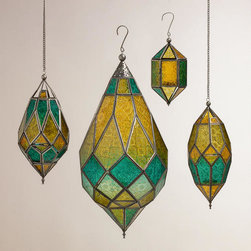 Cool Multicolor Sabita Embossed Glass Hanging Lantern - These unique teardrop lanterns come in different colors.