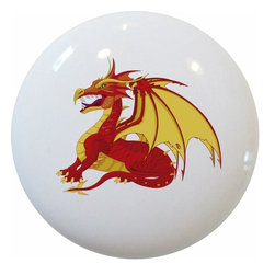 Carolina Hardware and Decor, LLC - Red Dragon Ceramic Cabinet Drawer Knob - 1 1/2 inch white ceramic knob with one inch mounting hardware included.  Great as a cabinet, drawer, or furniture knob.  Adds a nice finishing touch to any room!