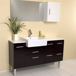 Fresca - Fresca Serio Espresso Modern Bathroom Vanity with Mirror & Side Cabinet - This handsome middle of Midtown Manhattan showroom floor vanity completes any setting with an espresso finish and chrome hardware and a large ceramic white basin. This no nonsense ensemble is perfect for any location with room to spare. It has a super sleek look and feel and features a mirror and a side cabinet. Many faucet styles to choose from. More optional side cabinets are available. Features Materials: Solid Oak Wood, Ceramic Sink with Overflow, Marble Countertop Soft Closing Drawers Single Hole Faucet Mount (Faucet Shown In Picture May No Longer Be Available So Please Check Compatible Faucet List) P-trap, Faucet/Pop-Up Drain and Installation Hardware Included How to handle your counter Installation GuideView Spec Sheet