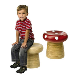 Handmade Bamboo Stools - I'd choose the plain option, but boy, a toadstool is a pretty awesome find for a kid's room. I'd love to see a couple paired with a really modern white crafting table.