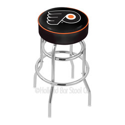 "Holland Bar Stool - Holland Bar Stool L7C1 - 4 Inch Philadelphia Flyers Cushion Seat - L7C1 - 4 Inch Philadelphia Flyers Cushion Seat w/ Double-Ring Chrome Base Swivel Bar Stool belongs to NHL Collection by Holland Bar Stool Made for the ultimate sports fan, impress your buddies with this knockout from Holland Bar Stool. This L7C1 retro style logo stool has a 4"" cushion with a tough double-ring base and a chrome finish. Holland Bar Stool uses a detailed screen print process that applies specially formulated epoxy-vinyl ink in numerous stages to produce a sharp, crisp, clear image of your desired logo. You can't find a higher quality logo stool on the market. The structure is triple chrome-plated to ensure a rich, polished finish that will last ages. If you're going to finish your bar or game room, do it right- with a Holland Bar Stool. Barstool (1)"