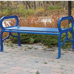 Paris Equipment Newport Steel Commercial Backless Bench - The Newport Backless Bench mixes classic design with a touch of imagination featuring rounded looks and a distinctive decorative crossbar. Oversized curved armrests add a note of whimsy. The all-metal bench is built from one-inch plate steel so it's sure to stand up to the worst weather year after year. This bench is available in a dozen colors and two sizes meaning there's bound to be one that's just right for your needs!