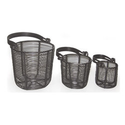 Go Home - Go Home Set of Three Wire Baskets with Flat Handle - When a basket takes a contemporary outlook it upgrades from mere a utility accessory and transforms into a home decorative. Inspired by the European country collection, this set of three brilliantly designed baskets will lure your desire at every glance. Incorporated with a flat handle for better grip these lovely baskets add a character to your indoor as well as outdoor dcor.