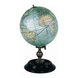 """Authentic Models - Authentic Models Colored World Globe - Add an historic and educational touch to your table and home with this lovely AM colored globe as your table centerpiece! Originally hand drawn by Weber Castello, this globe features colored paper gores and a brass wooden stand. This can make a great gift for a world traveler, historian or artists. Dimensions: 7"""" Width x 12"""" Height."""